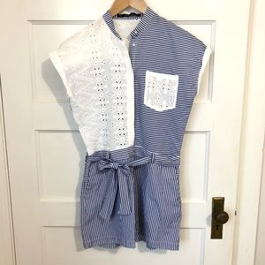 Zara blue striped belted romper with white lace